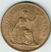 George VI, One Penny 1940 (Scarcer Year), AUNC, M9020